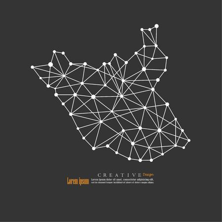 outline map of  South Sudan. vector illustration.