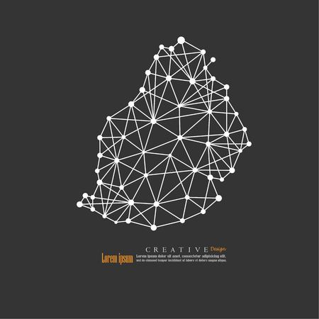 Outline map of Mauritius. vector illustration. Illustration