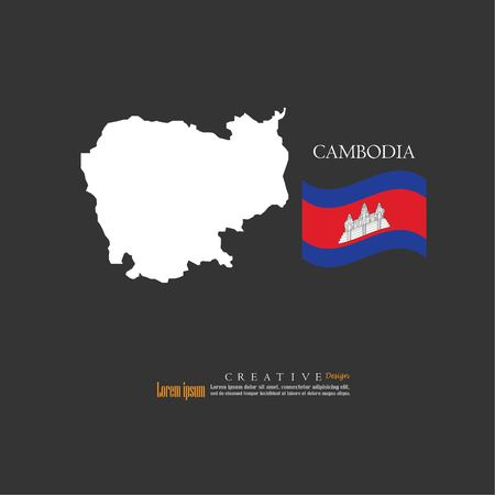 Outline map of Cambodia with nation flag vector illustration. Illustration
