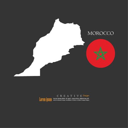 outline map of  Morocco with nation flag.vector illustration.