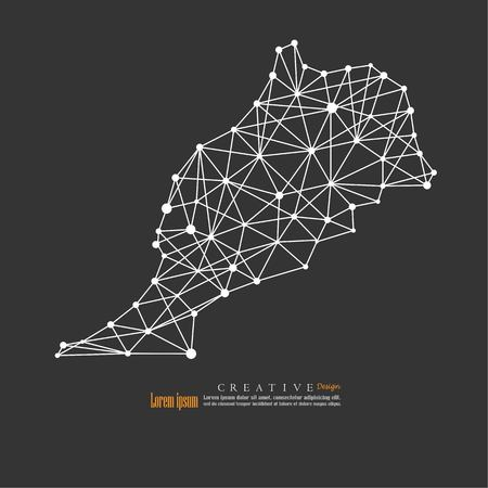 outline map of  Morocco. vector illustration.