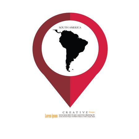 South America map.vector illustration.
