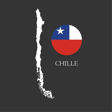 Outline map of Chile with nation flag vector illustration. 矢量图像