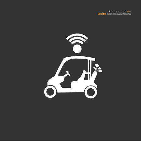 Golf cart with wifi signal . vector illustration.eps10.