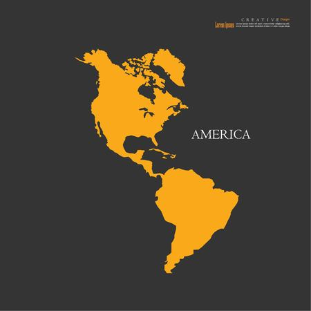 America continent map, north and south vector illustration. Illustration