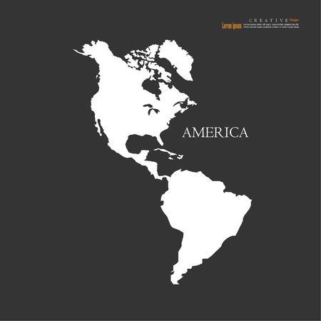 アメリカ大陸地図、北と南.ベクトル図。