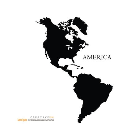 America continent map,north and south.vector illustration.