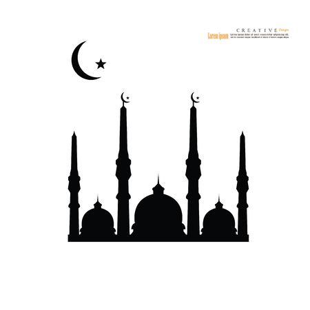 모스크 돔 masjid 기호 플랫 아이콘 배경입니다. 일러스트
