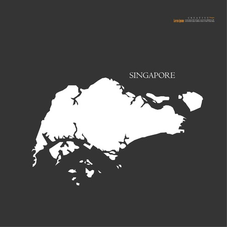 Outline map of Singapore vector illustration. Vettoriali