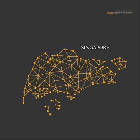 Outline map of Singapore vector illustration. Illustration