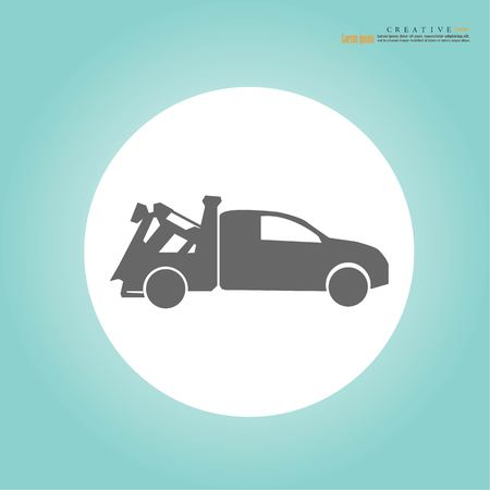 Tow truck delivers the damaged vehicle.vector illustration. Stock Illustratie