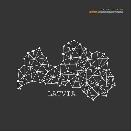 outline map of Latvia.vector illustration.