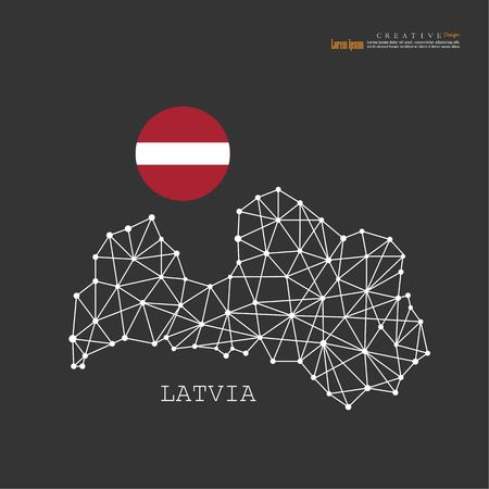 outline map of  Latvia  with nation flag.vector illustration. Illustration
