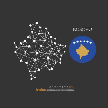 Outline map of Kosovo with nation flag vector illustration.  イラスト・ベクター素材