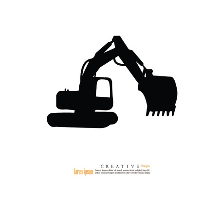 Backhoe car icon.vector illustration.eps10. Ilustrace