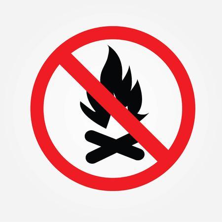 no bonfire sign vector,Fire sign,do not fire area.vector illustration.