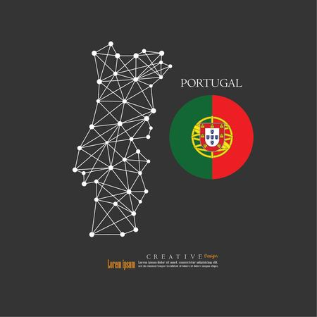 outline map of  Portugal with nation flag.vector illustration.