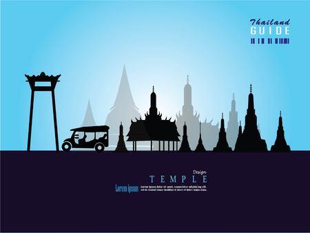 Thailand temple vector.Thailand temple.thailand guide.vector  illustration. Ilustração