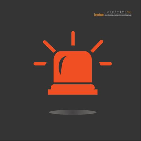 Flashing alarm signal. Police or ambulance  flasher siren. Flat style. Flasher alert icon.vector illustration. Illustration