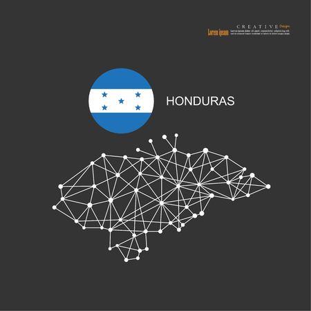 outline map of  Honduras  with nation flag.vector illustration.