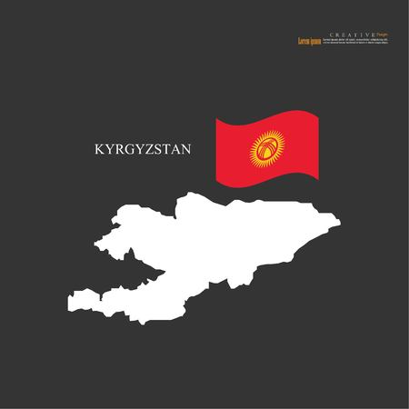 outline map of Kyrgyzstan with nation flag.vector illustration.