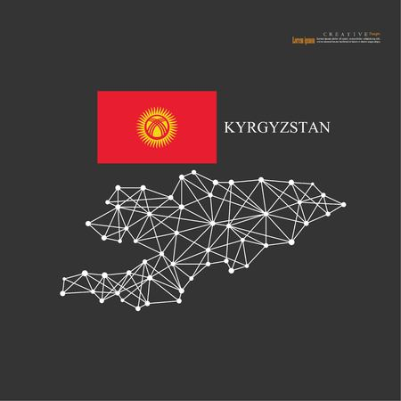 outline map of Kyrgyzstan  with nation flag.vector illustration.  イラスト・ベクター素材