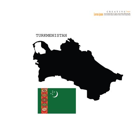 outline map of Turkmenistan  with nation flag.vector illustration.