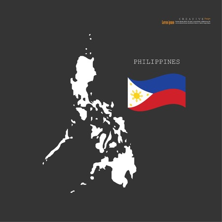 outline map of Philippines  with nation flag.vector illustration.