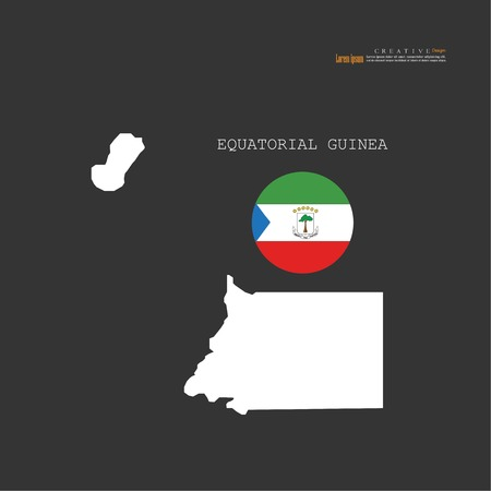outline map of  Equatorial Guinea with nation flag.vector illustration.
