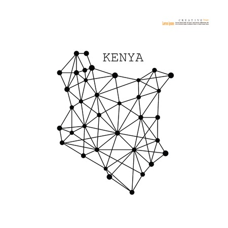 outline map of  Kenya. vector illustration. Vectores