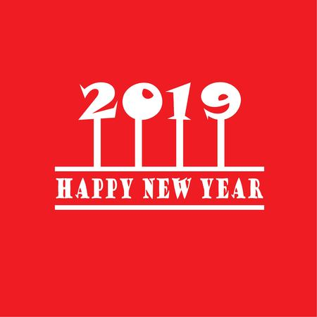 Happy new year 2019.Happy new year greeting with number 2019 . Vector illustration.