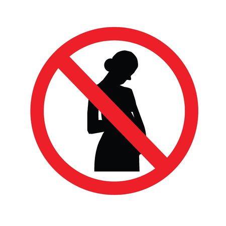no pregnant woman sign.prohibit sign.vector illustration.