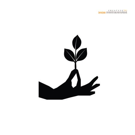 Hand icon with plant. vector illustration.