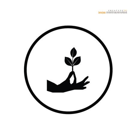 Hand icon with plant. vector illustration. 版權商用圖片 - 115280908