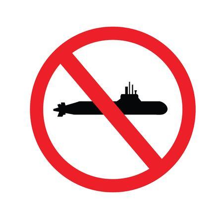 No submarine sign.Vector illustration.