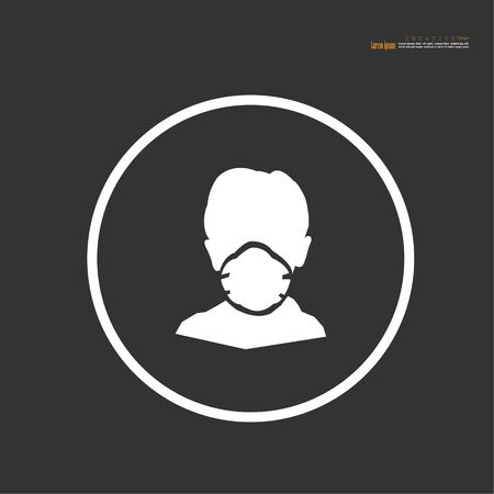Breathing mask.dust crisis concept.flat vector icon for apps and websites.Vector illustration.