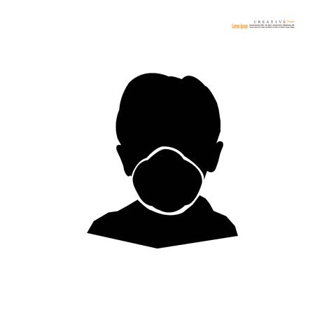 Breathing mask.dust crisis concept.flat vector icon for apps and websites.Vector illustration. Standard-Bild - 116948583