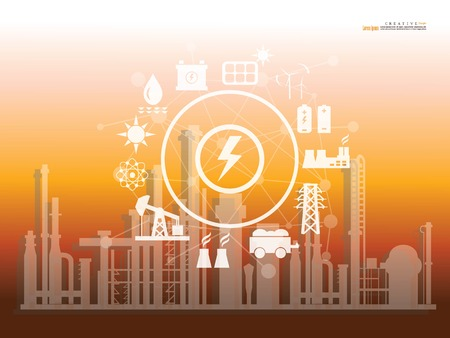 refineries and power plants with energy network .Power factory concept. vector illustration. Vektorové ilustrace