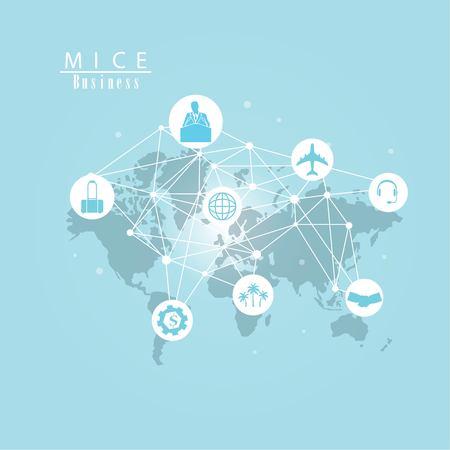 Concepto de MICE.Concepto de reunión, incentivos, conferencias y exposiciones (MICE) y concepto de comercio comercial.Ilustración de vector. Ilustración de vector