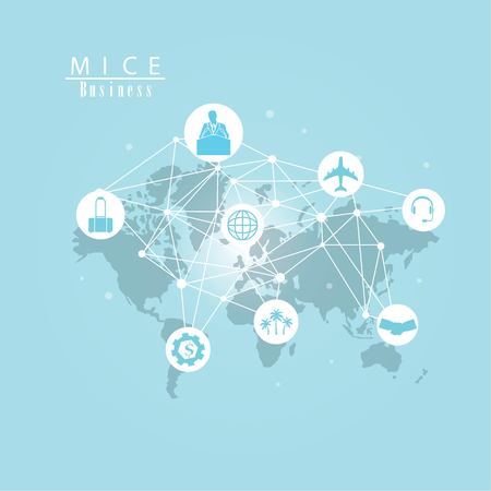 MICE concept.Meeting, incentive, conference and exhibition (MICE) business and commercial trading concept.vector illustration. Vector Illustration
