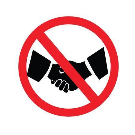 No hay apretón de manos sign.vector illustration.eps10. Ilustración de vector