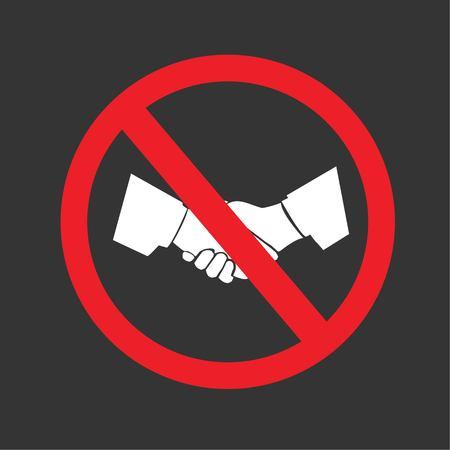 Aucune poignée de main sign.vector illustration.eps10.