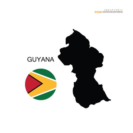 outline map of  Guyana with nation flag.vector illustration. Illustration