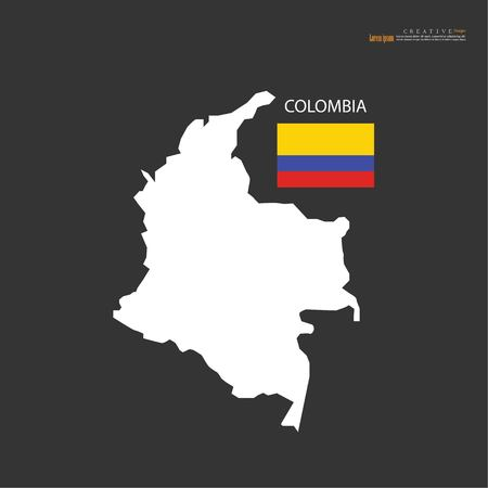 outline map of  Colombia with nation flag.vector illustration.