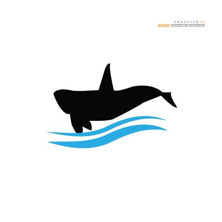 whale icon with wave on white background.vector illustration.