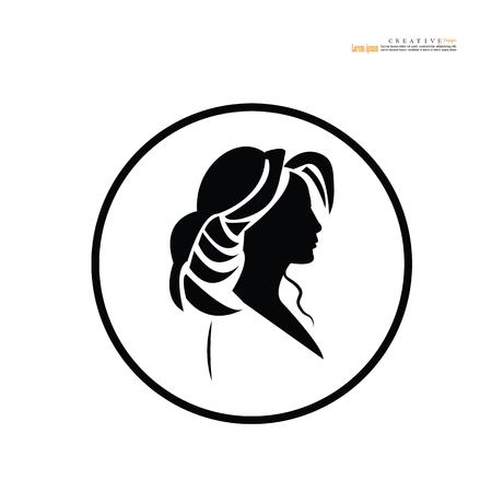 outline of  Woman  on white background.vector illustration. Иллюстрация