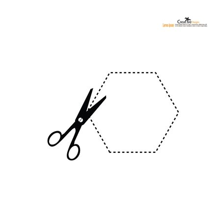Scissors with cut lines. Vector illustration.Scissors with cut lines. Vector illustration.