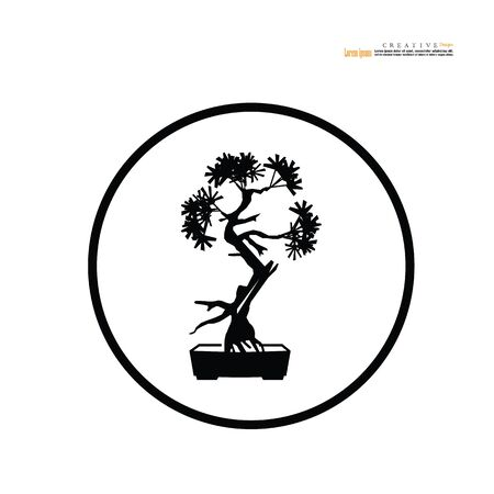 Bonsai.bonsai with pot on white background.vector illustration. Stock Illustratie