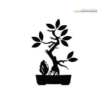 Bonsai.bonsai with pot on white background.vector illustration. Illusztráció