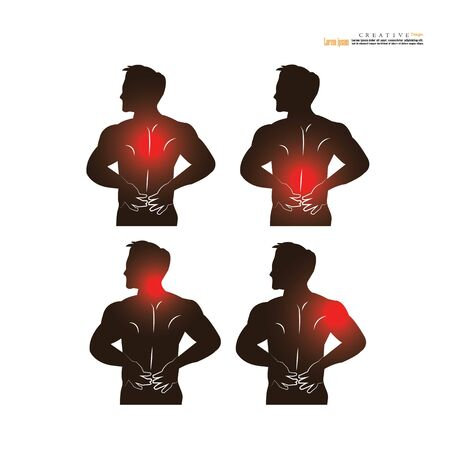 Man pain concept. anatomy with pain point. man having pain at shoulder,neck,back,head. vector illustration.